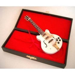 Miniatura jazz kytara bílá